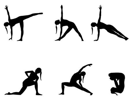 Yoga reeks zwarte silhouetten op wit 6 posities