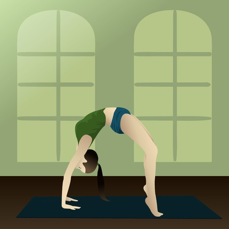 Young girl practicing yoga in room Yogi  Upward Bow   Vector