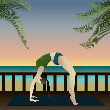 Young girl practicing yoga on the beach with sunset  Yogi on beach  Upward Bow   Vector