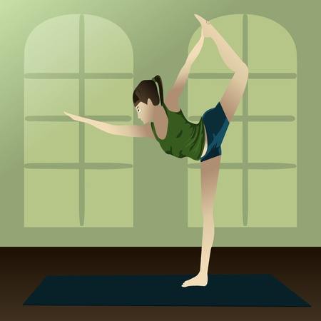 recreation rooms: Young girl practicing yoga in room Yogi  Illustration