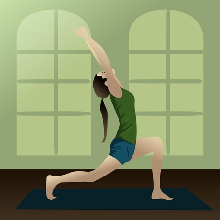Young girl practicing yoga in room Yogi2  Vector