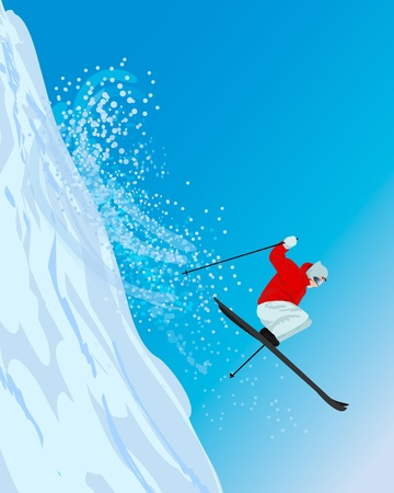 Snowy hill side of mountain, with skier jumping down  Skier  Vector
