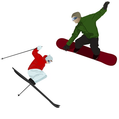 Skier and snowboarder, isolated on white  Illustration