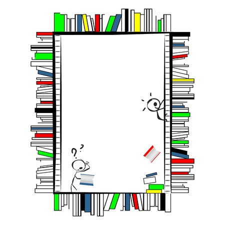 Funny cartoonish frame, made of books like shelves in library, with ladders  Two little doodle characters, one on ladder throwing the books down and other reading them