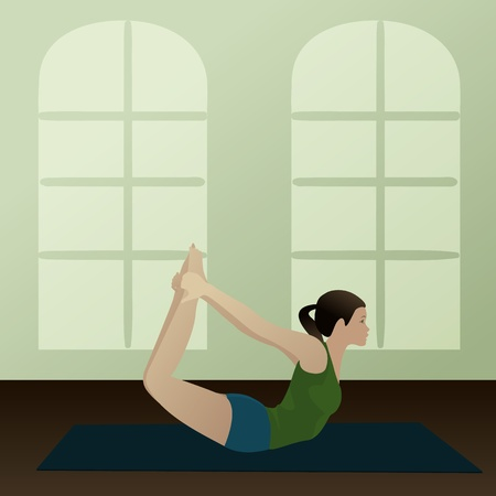 Young woman practicing yoga Bow Pose  Dhanurasana   Vector