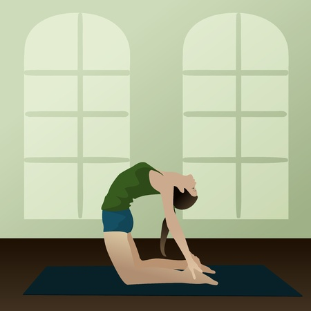 asanas: Young woman practicing yoga Camel Pose  Ushtra-asana   Illustration