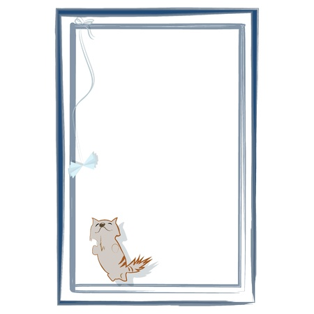 Little happy kitten playing with handmade toy butterfly, which is bound to the frame Vector