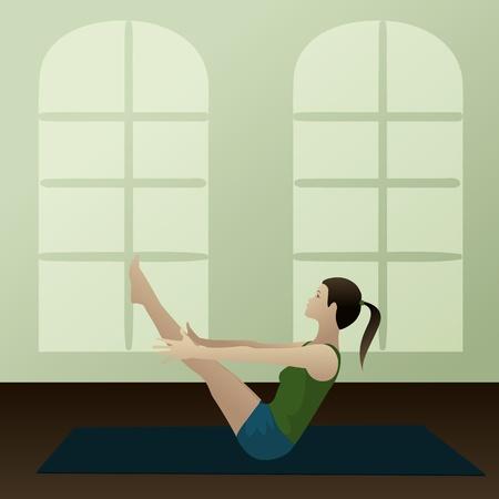 exercise class: Young woman practicing yoga Boat Pose Navasana