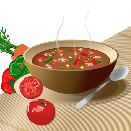 Bowl of hot vegetable soup on plate, with spoon and tomato, peppers, carrots, isolated on white   Illustration