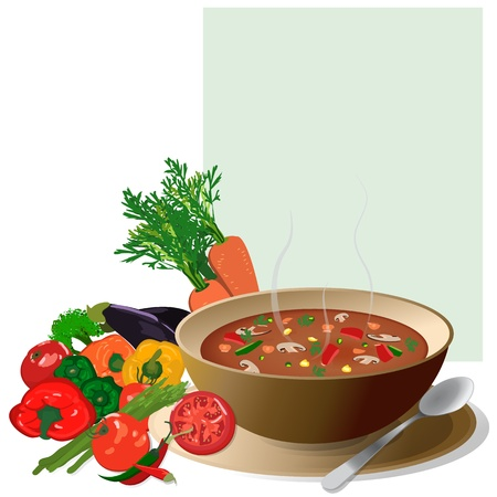 Vegetable soup, with fresh colorful vegetables around and a note for ingredients Isolated on white Illustration