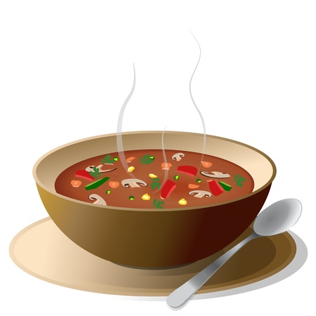 Bowl of hot vegetable soup on plate, with spoon,isolated on white