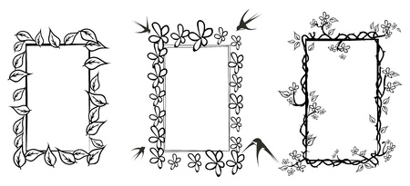 three wishes: Three floral frames in black and white,isolated on white
