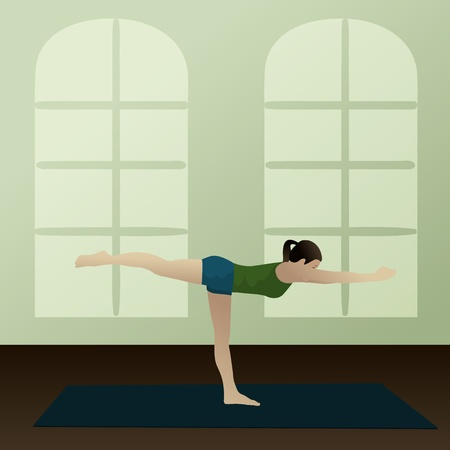 asanas: Young woman practicing yoga Warrior 3 Pose
