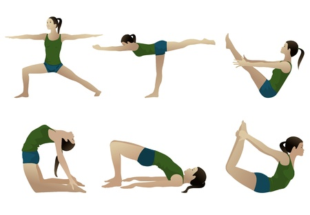 women yoga: Yoga series 3, six yoga poses on white
