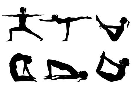 Yoga serie silhouetten 3, zes poses geïsoleerd op wit