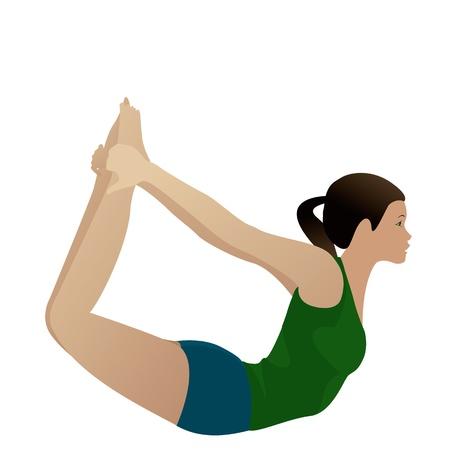 Jonge vrouw het beoefenen van yoga Bow Pose Dhanurasana op wit wordt geïsoleerd Stockfoto