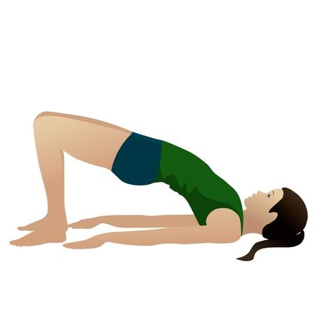 Jonge vrouw het beoefenen van yoga Bridge Pose Setu Bandha Sarvangasana op wit wordt geïsoleerd Stockfoto
