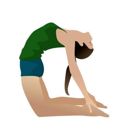 Jonge vrouw het beoefenen van yoga Camel Pose Ushtra-asana op wit wordt geïsoleerd