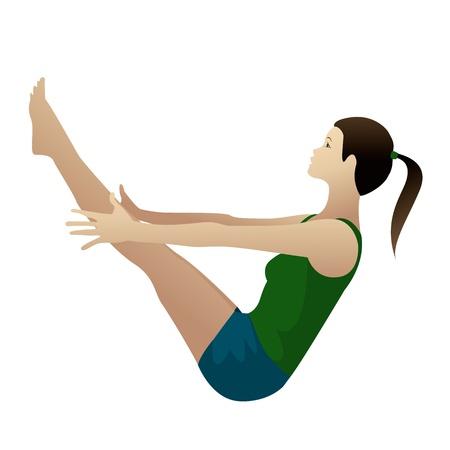 Jonge vrouw het beoefenen van yoga Boat Pose navasana op wit wordt geïsoleerd
