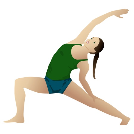 asanas: Young woman practicing yoga Reverse Warrior 2, isolated on white