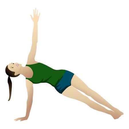 Young woman practicing yoga Side Plank   Vasisthasana  isolated on white Stock Photo - 12867964