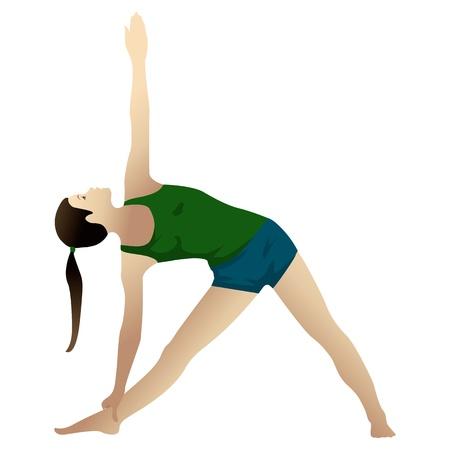 Jonge vrouw het beoefenen van yoga, driehoek pose, geïsoleerd op wit Stockfoto