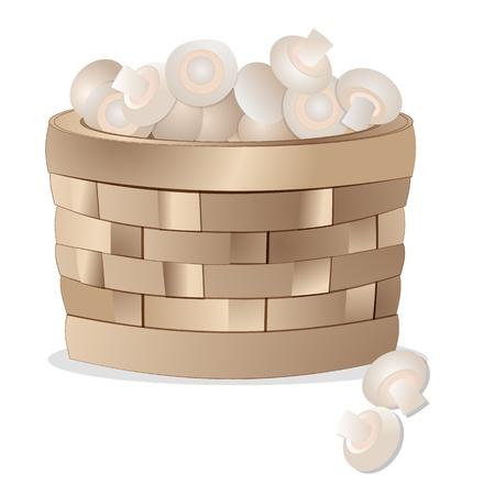 Wicker basket with mushrooms Stock Vector - 12851879