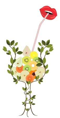 Tree forming the shape of glass, full of sliced colorful fruits Stock Vector - 12851894