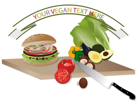 Vegan burger on cutting board with vegetables Vector