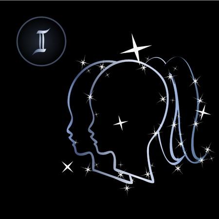 constelacion: Signos del zodiaco G�minis preciosas formada por estrellas sobre fondo negro