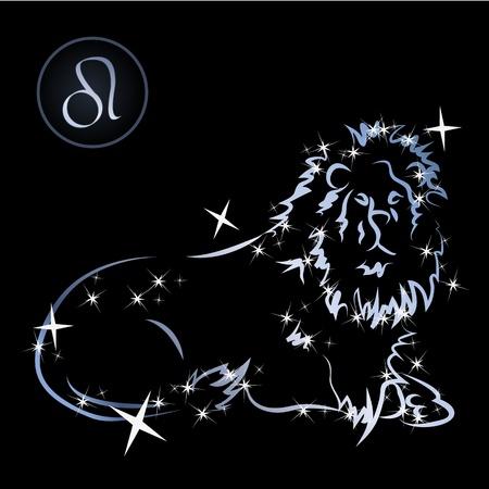 constellations: Signes du zodiaque Lion Belles form� par des �toiles sur fond noir