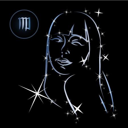 superstitious: Segni zodiacali della Vergine Amabili formata da stelle su sfondo nero