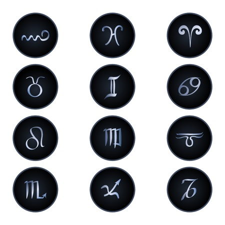 Zodiac signs isolated on white Stock Illustratie