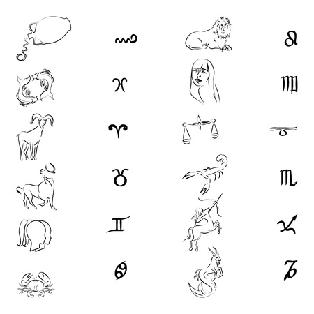Zodiac signsSilhouettes isolated on white photo
