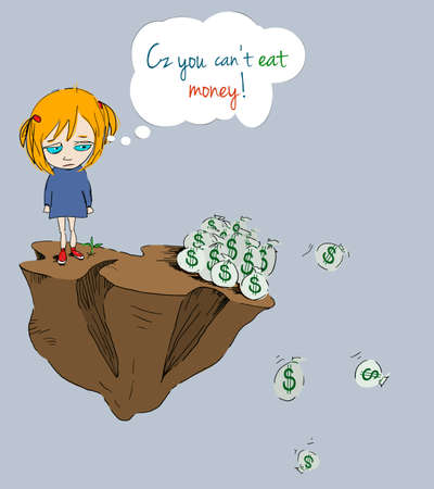 Cz you cant eat money/Little girl questioning the value of money on deserted island Stock Photo - 13127586