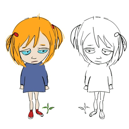 unhappy family: Cuteface cartoon girly,with her double in sketchComic grily