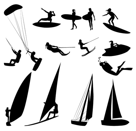 ski jump: Silhouettes of water sports, isolated on white. Stock Photo