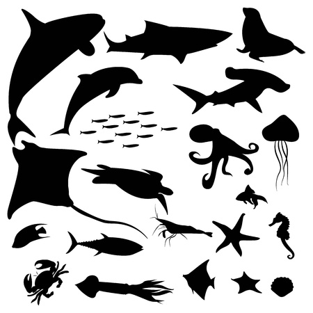 Aquatic life silhouettes pack Vector