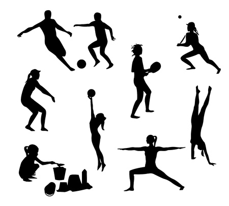 Beach games silhouettes pack Vector