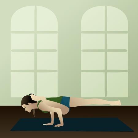Young woman practicing yoga Eka Pada Koundinyasana Albatross Pose Stock Vector - 13373596