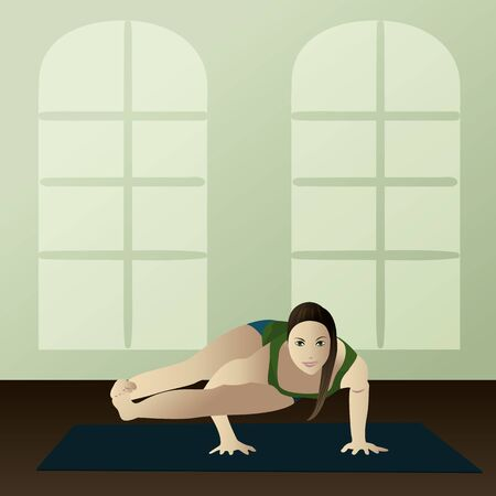 asanas: Young woman practicing yoga Astavakrasana Eight Angle Yoga Pose
