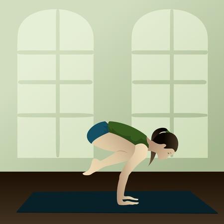namaste: Young woman practicing yoga Bakasana Crane Yoga Pose