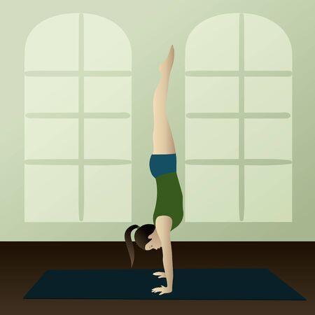 namaste: Young woman practicing yoga Adho Mukha Vrksasana Handstand   Illustration