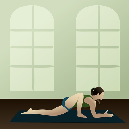 asanas: Young woman practicing yoga Lizard Pose Utthan Pristhasana