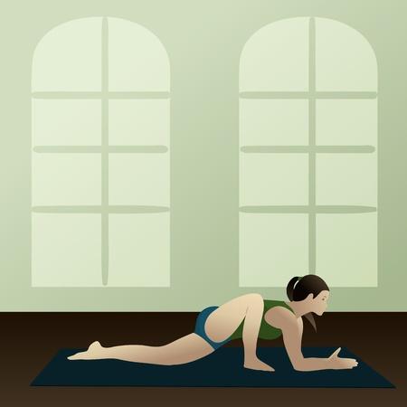 namaste: Young woman practicing yoga Lizard Pose Utthan Pristhasana