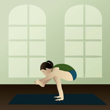 asanas: Young woman practicing yoga Bhujapidasana Shoulder Pressing Yoga Pose  Illustration