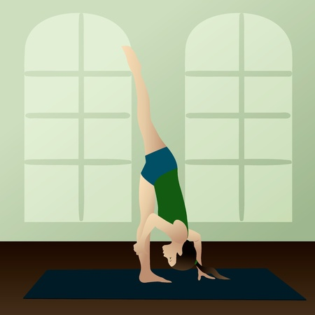 asanas: Young woman practicing yoga Urdhva Prasarita Eka Padasana Standing Split