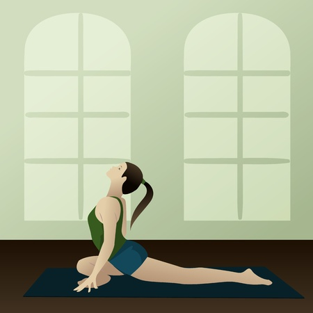 Young woman practicing yoga Supported Pigeon Pose Salamba Kapotasana  Stock Vector - 13373608