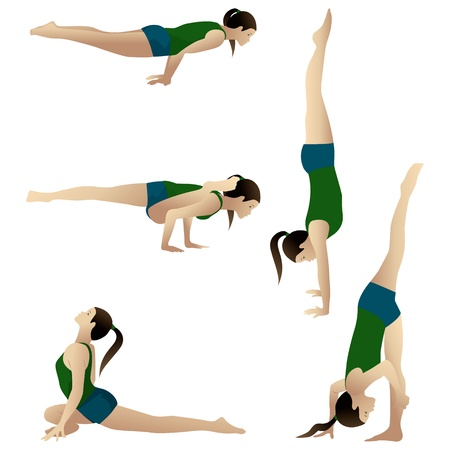 asanas: Silhouettes-group1  Young woman practicing yoga Stock Photo