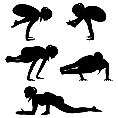 asanas: Silhouettes yoga practice-group2 Stock Photo